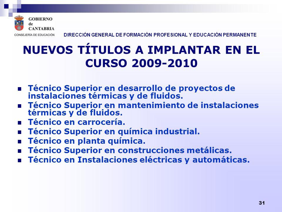 DIRECCIÓN GENERAL DE FORMACIÓN PROFESIONAL Y EDUCACIÓN PERMANENTE 31 NUEVOS TÍTULOS A IMPLANTAR EN EL CURSO 2009-2010 Técnico Superior en desarrollo d