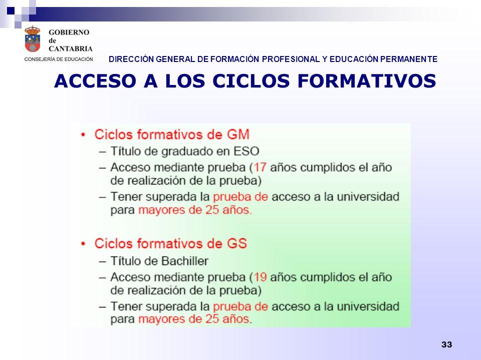 DIRECCIÓN GENERAL DE FORMACIÓN PROFESIONAL Y EDUCACIÓN PERMANENTE 33 ACCESO A LOS CICLOS FORMATIVOS