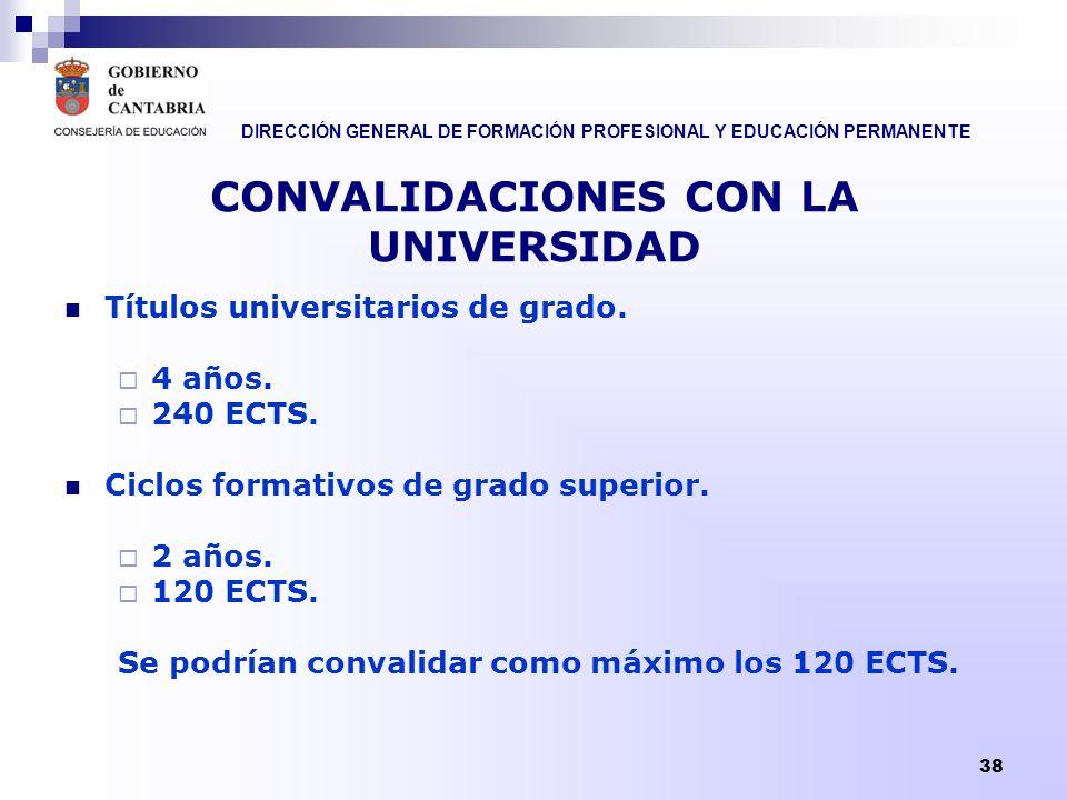 DIRECCIÓN GENERAL DE FORMACIÓN PROFESIONAL Y EDUCACIÓN PERMANENTE 38 CONVALIDACIONES CON LA UNIVERSIDAD Títulos universitarios de grado. 4 años. 240 E
