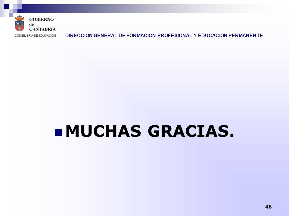 DIRECCIÓN GENERAL DE FORMACIÓN PROFESIONAL Y EDUCACIÓN PERMANENTE 45 MUCHAS GRACIAS.