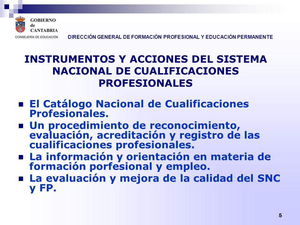 DIRECCIÓN GENERAL DE FORMACIÓN PROFESIONAL Y EDUCACIÓN PERMANENTE 5 INSTRUMENTOS Y ACCIONES DEL SISTEMA NACIONAL DE CUALIFICACIONES PROFESIONALES El C