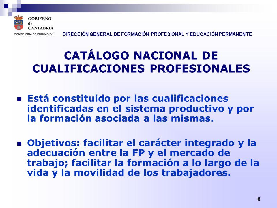 DIRECCIÓN GENERAL DE FORMACIÓN PROFESIONAL Y EDUCACIÓN PERMANENTE 6 CATÁLOGO NACIONAL DE CUALIFICACIONES PROFESIONALES Está constituido por las cualif