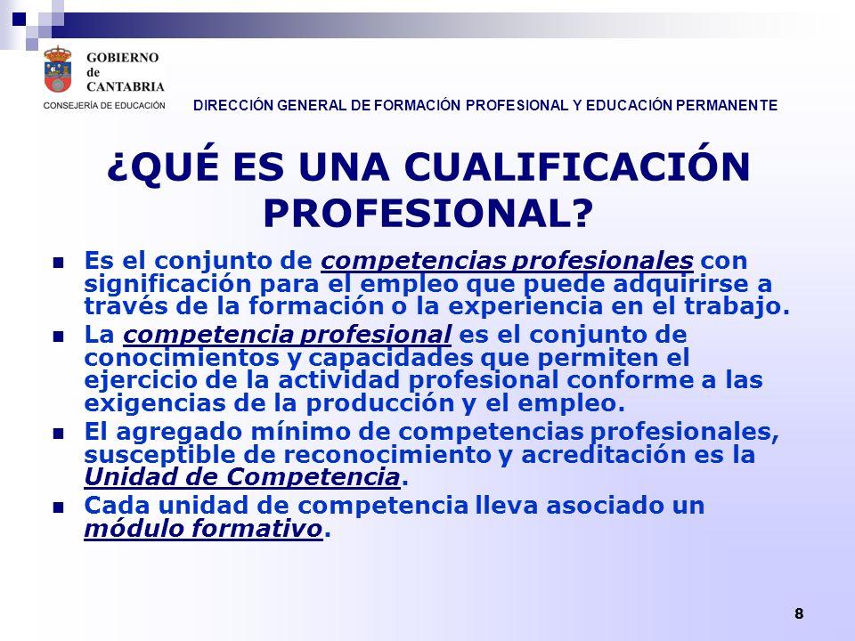 DIRECCIÓN GENERAL DE FORMACIÓN PROFESIONAL Y EDUCACIÓN PERMANENTE 8 ¿QUÉ ES UNA CUALIFICACIÓN PROFESIONAL? Es el conjunto de competencias profesionale