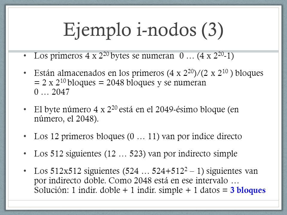 Ejemplo i-nodos (4) Sabiendo que 1 i-nodo ocupa 128 bytes El número de i-nodo de / es el 2, el de bujuan es el 35 y se empieza a contar en el i-nodo 1 La boot ocupa 1 bloque y el superbloque ocupa 8 bloques Los bloques lógicos empiezan a contar en el 0 ¿En qué bloque lógico se encuentra el i-nodo de /.