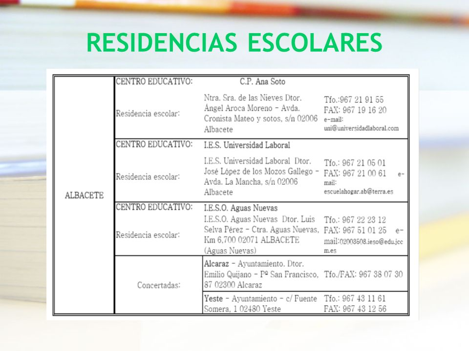 RESIDENCIAS ESCOLARES