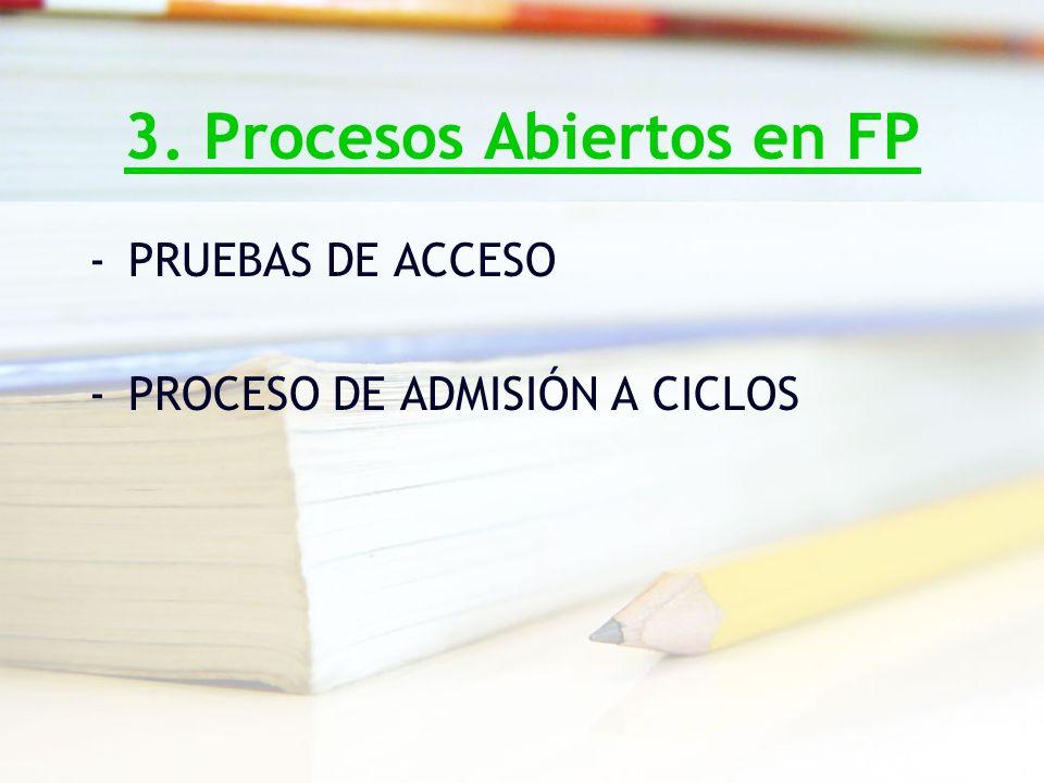 3. Procesos Abiertos en FP -PRUEBAS DE ACCESO -PROCESO DE ADMISIÓN A CICLOS