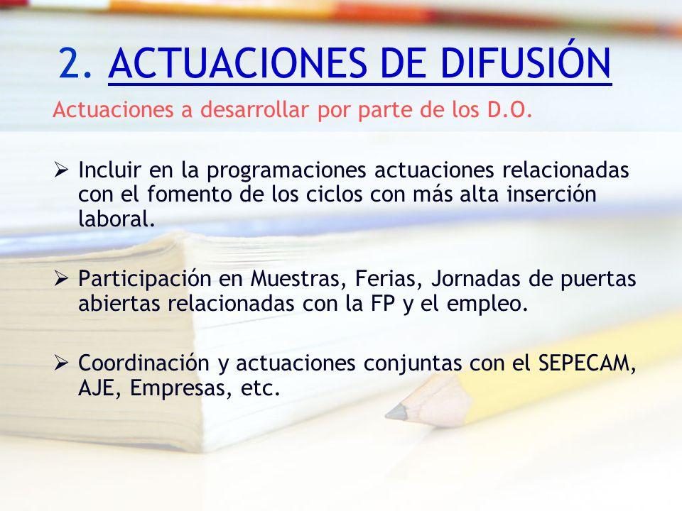 2. ACTUACIONES DE DIFUSIÓN Actuaciones a desarrollar por parte de los D.O. Incluir en la programaciones actuaciones relacionadas con el fomento de los