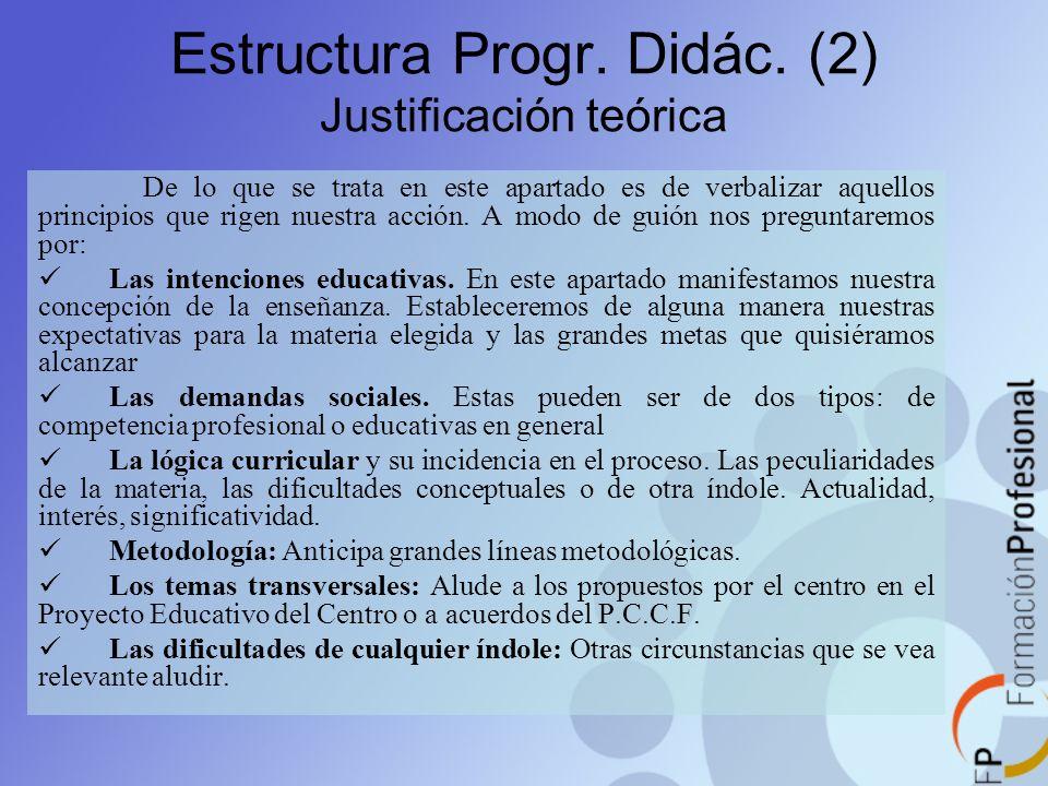 Estructura Progr. Didác. (2) Justificación teórica De lo que se trata en este apartado es de verbalizar aquellos principios que rigen nuestra acción.