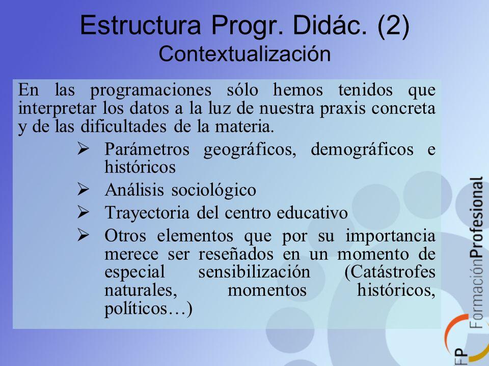 Estructura Progr. Didác. (2) Contextualización En las programaciones sólo hemos tenidos que interpretar los datos a la luz de nuestra praxis concreta