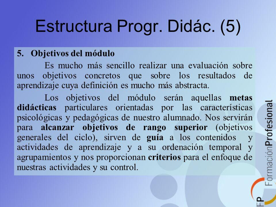 Estructura Progr. Didác. (5) 5. Objetivos del módulo Es mucho más sencillo realizar una evaluación sobre unos objetivos concretos que sobre los result