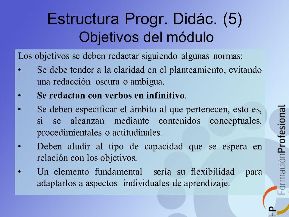 Estructura Progr. Didác. (5) Objetivos del módulo Los objetivos se deben redactar siguiendo algunas normas: Se debe tender a la claridad en el plantea