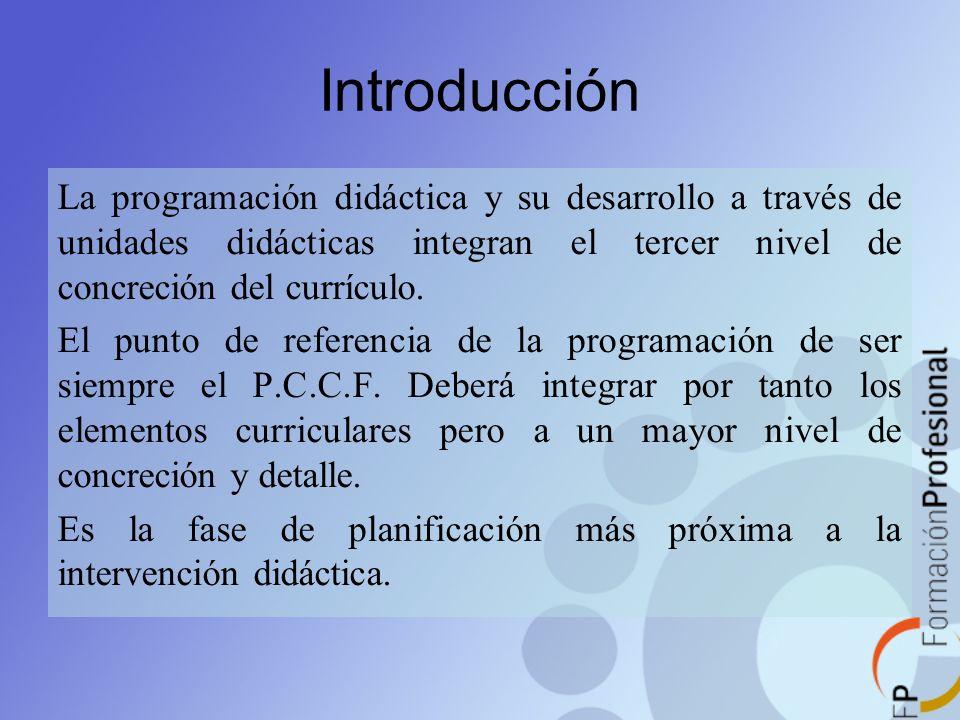 Introducción La programación didáctica y su desarrollo a través de unidades didácticas integran el tercer nivel de concreción del currículo. El punto