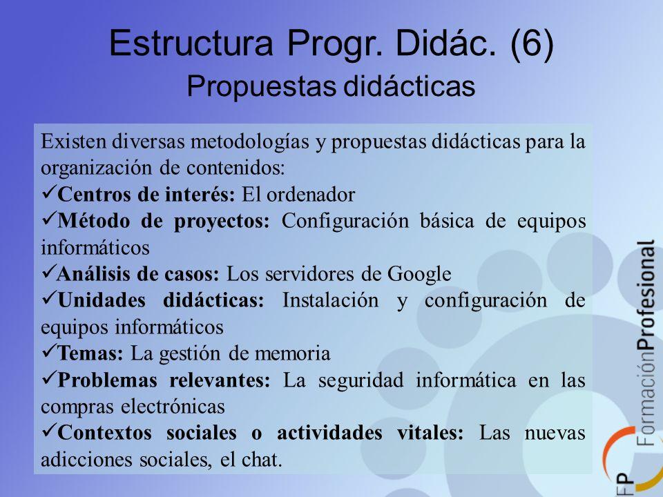 Estructura Progr. Didác. (6) Propuestas didácticas Existen diversas metodologías y propuestas didácticas para la organización de contenidos: Centros d
