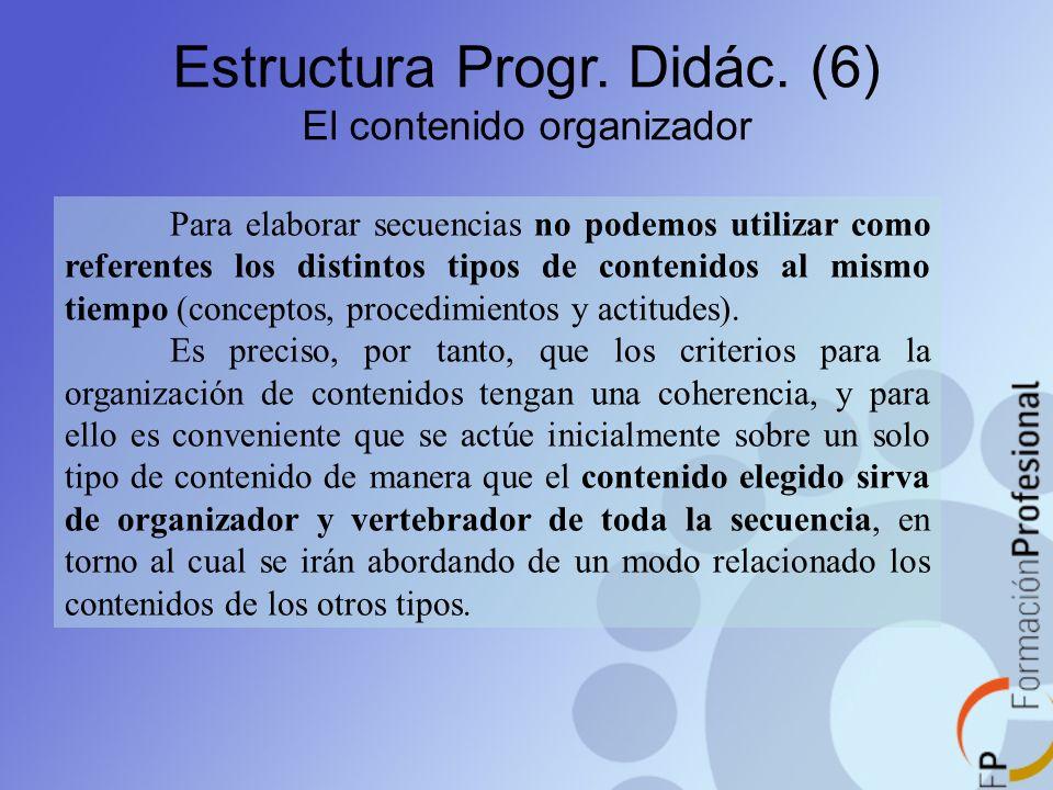 Estructura Progr. Didác. (6) El contenido organizador Para elaborar secuencias no podemos utilizar como referentes los distintos tipos de contenidos a
