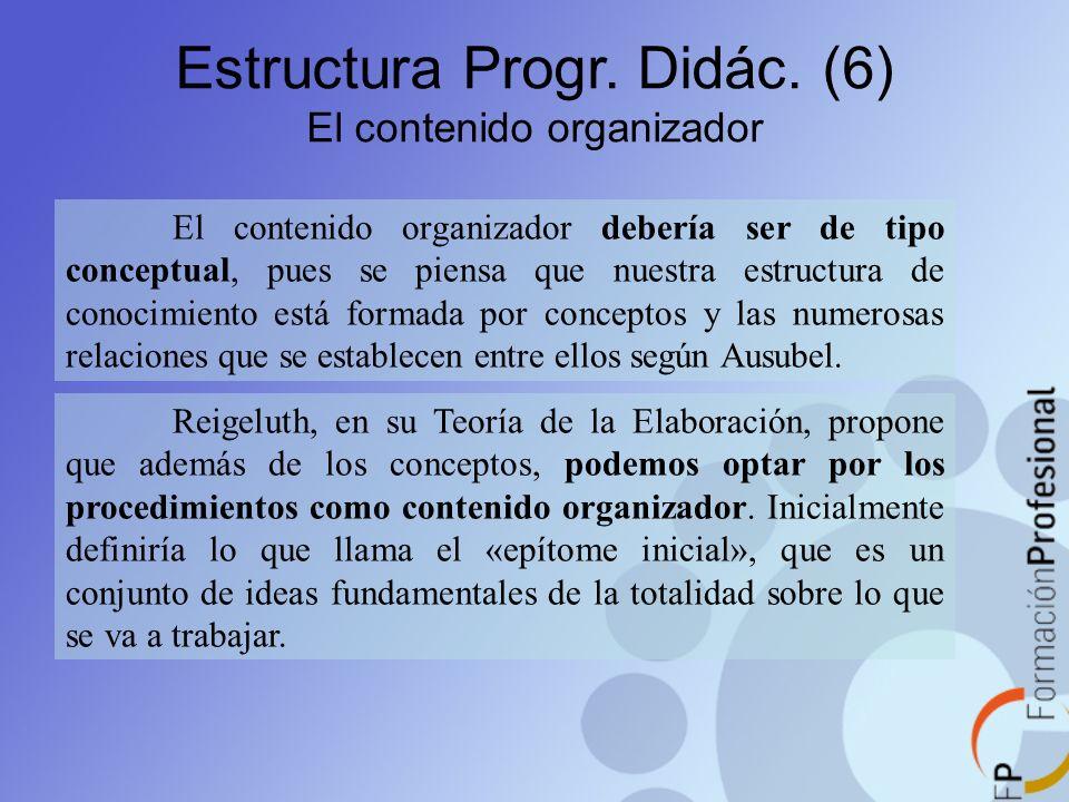 Estructura Progr. Didác. (6) El contenido organizador El contenido organizador debería ser de tipo conceptual, pues se piensa que nuestra estructura d