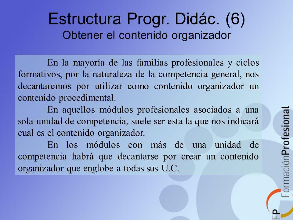 Estructura Progr. Didác. (6) Obtener el contenido organizador En la mayoría de las familias profesionales y ciclos formativos, por la naturaleza de la