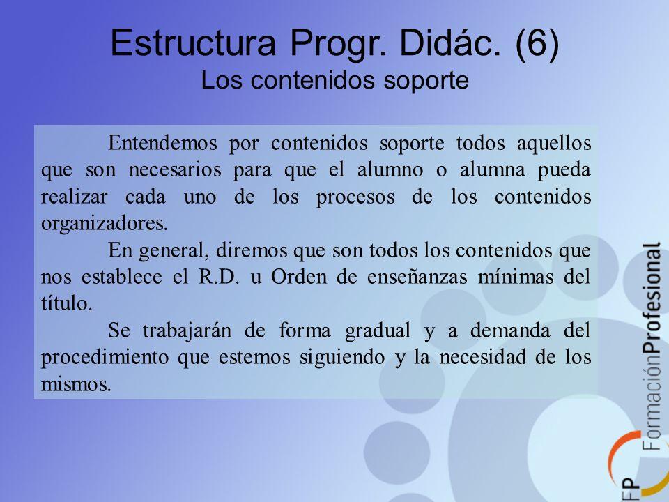 Estructura Progr. Didác. (6) Los contenidos soporte Entendemos por contenidos soporte todos aquellos que son necesarios para que el alumno o alumna pu