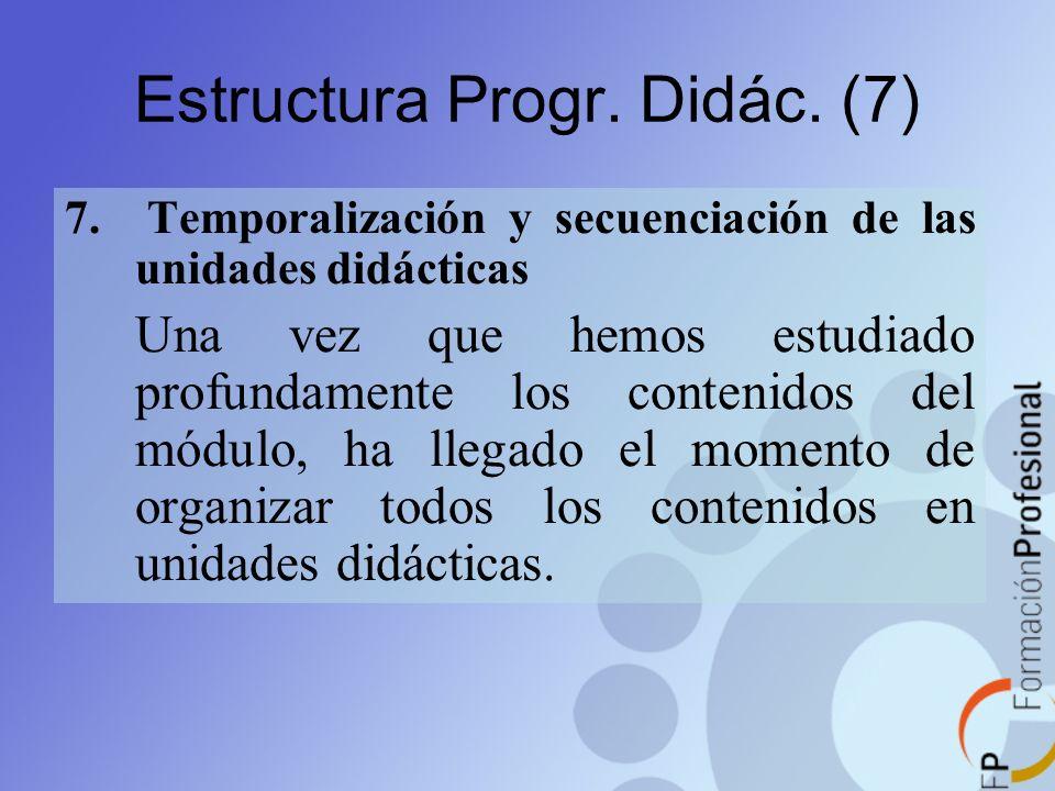 Estructura Progr. Didác. (7) 7. Temporalización y secuenciación de las unidades didácticas Una vez que hemos estudiado profundamente los contenidos de