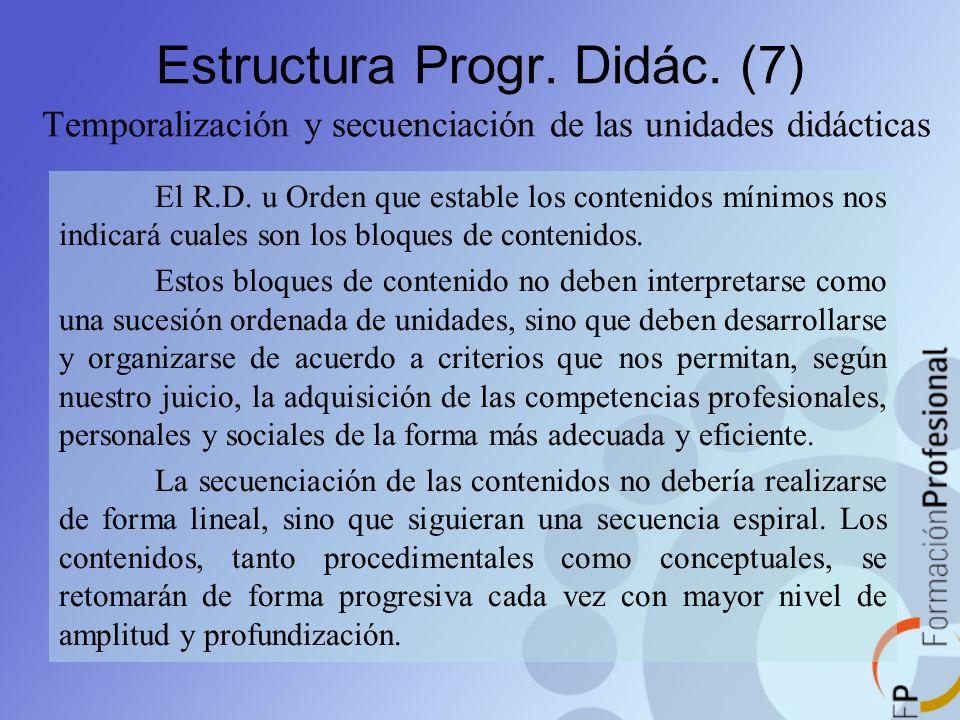 Estructura Progr. Didác. (7) Temporalización y secuenciación de las unidades didácticas El R.D. u Orden que estable los contenidos mínimos nos indicar