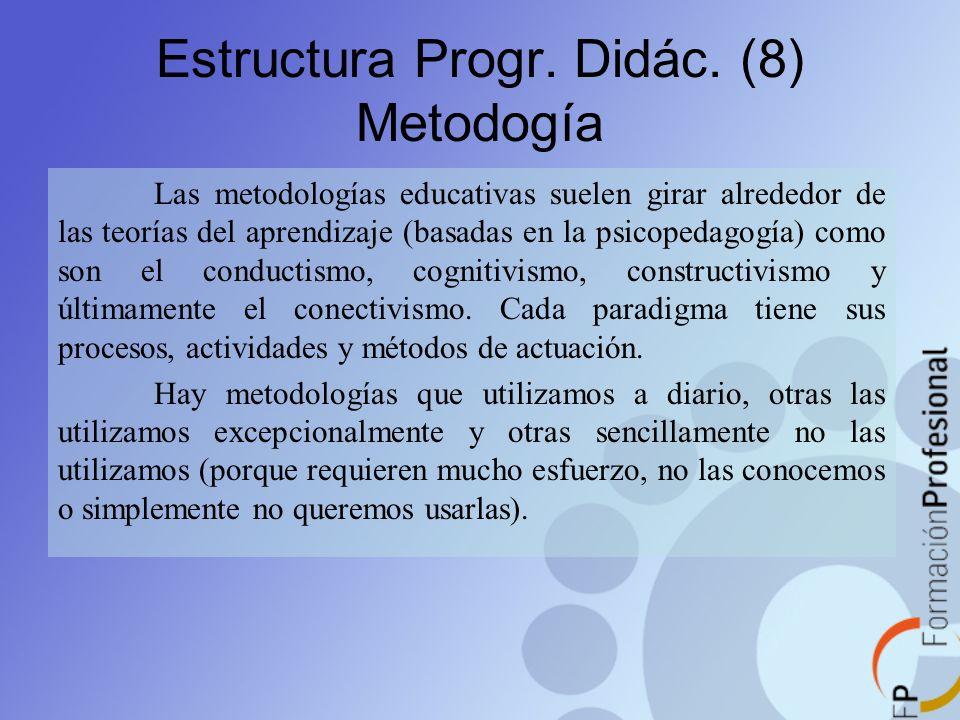 Las metodologías educativas suelen girar alrededor de las teorías del aprendizaje (basadas en la psicopedagogía) como son el conductismo, cognitivismo