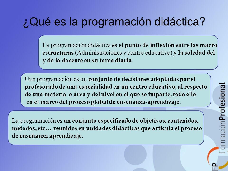 ¿Qué es la programación didáctica? La programación didáctica es el punto de inflexión entre las macro estructuras (Administraciones y centro educativo