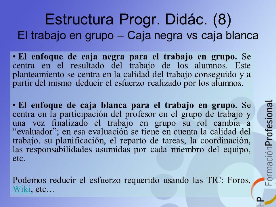 El enfoque de caja negra para el trabajo en grupo. Se centra en el resultado del trabajo de los alumnos. Este planteamiento se centra en la calidad de