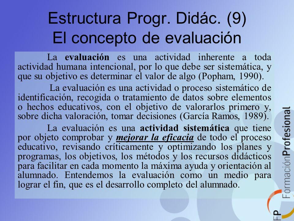 Estructura Progr. Didác. (9) El concepto de evaluación La evaluación es una actividad inherente a toda actividad humana intencional, por lo que debe s