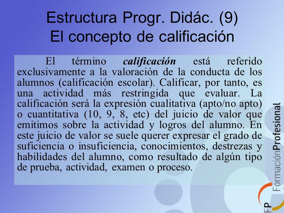 Estructura Progr. Didác. (9) El concepto de calificación El término calificación está referido exclusivamente a la valoración de la conducta de los al