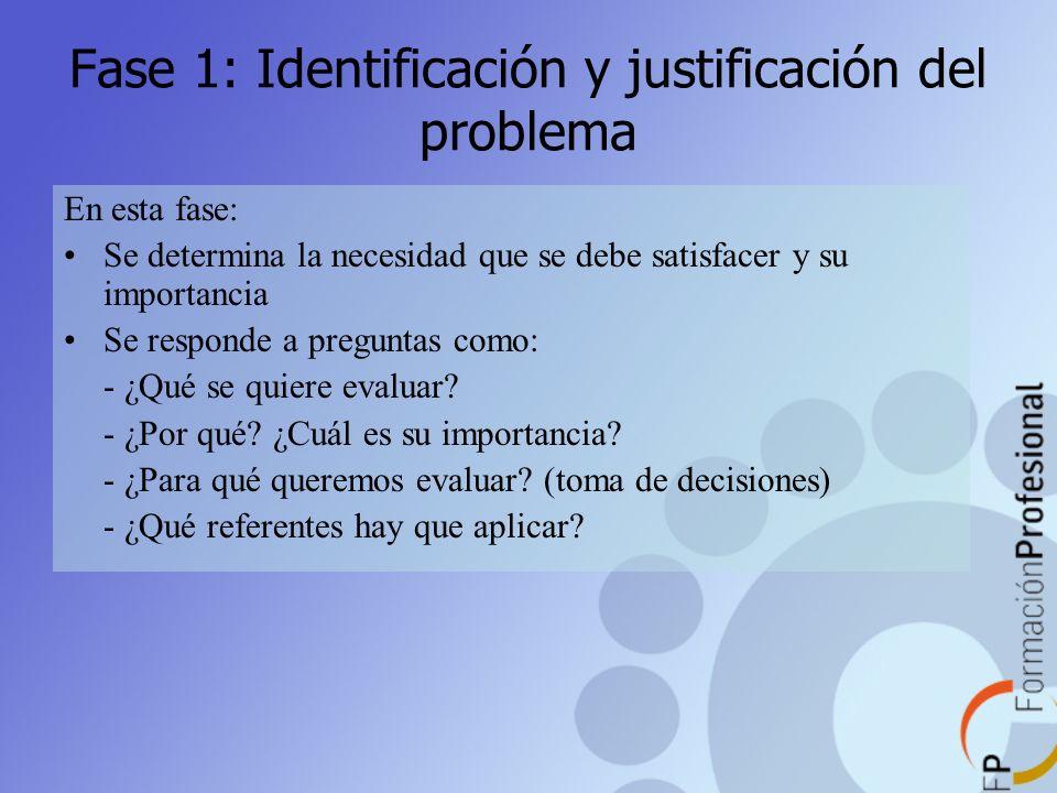 Fase 1: Identificación y justificación del problema En esta fase: Se determina la necesidad que se debe satisfacer y su importancia Se responde a preg