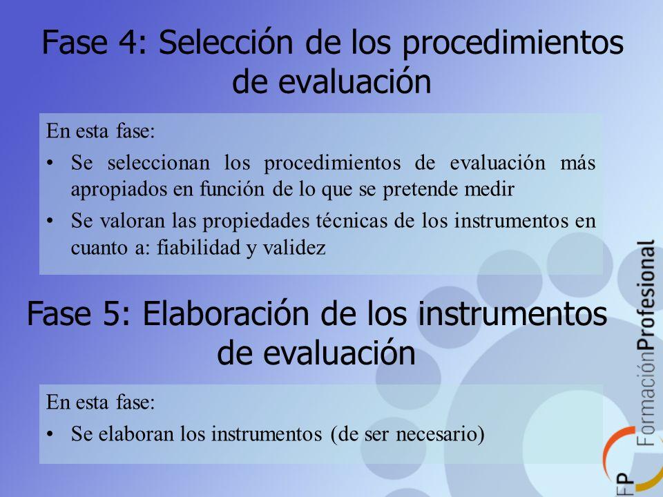Fase 4: Selección de los procedimientos de evaluación En esta fase: Se seleccionan los procedimientos de evaluación más apropiados en función de lo qu