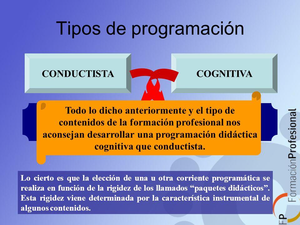 Tipos de programación CONDUCTISTACOGNITIVA Lo cierto es que la elección de una u otra corriente programática se realiza en función de la rigidez de lo