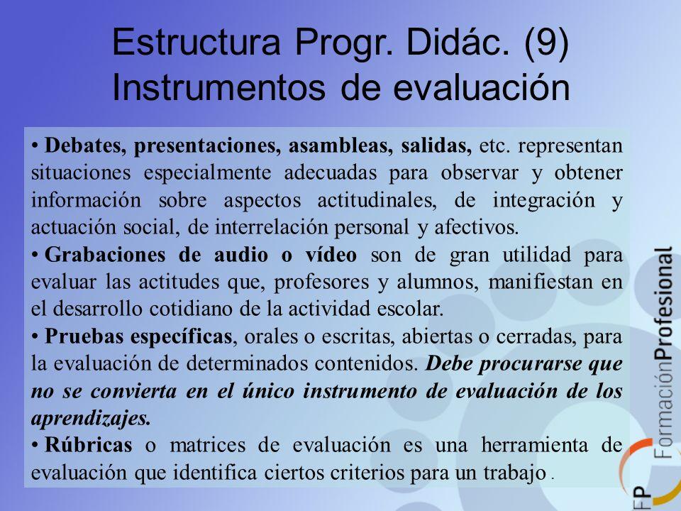 Estructura Progr. Didác. (9) Instrumentos de evaluación Debates, presentaciones, asambleas, salidas, etc. representan situaciones especialmente adecua