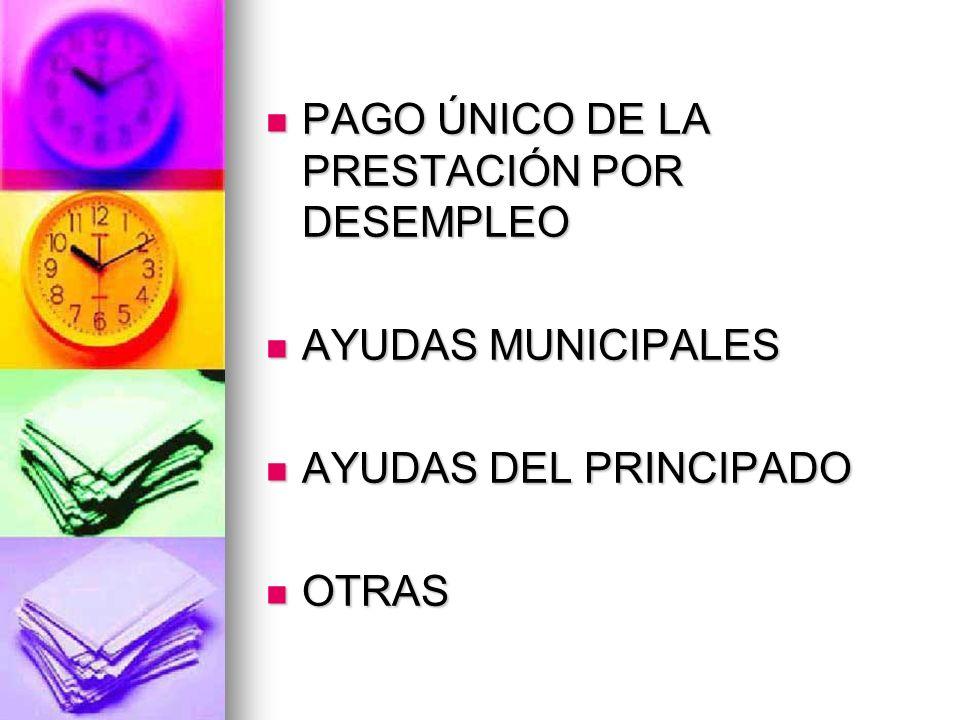 PAGO ÚNICO DE LA PRESTACIÓN POR DESEMPLEO PAGO ÚNICO DE LA PRESTACIÓN POR DESEMPLEO AYUDAS MUNICIPALES AYUDAS MUNICIPALES AYUDAS DEL PRINCIPADO AYUDAS DEL PRINCIPADO OTRAS OTRAS