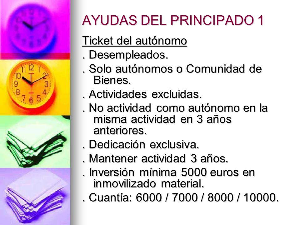 AYUDAS DEL PRINCIPADO 1 Ticket del autónomo. Desempleados..