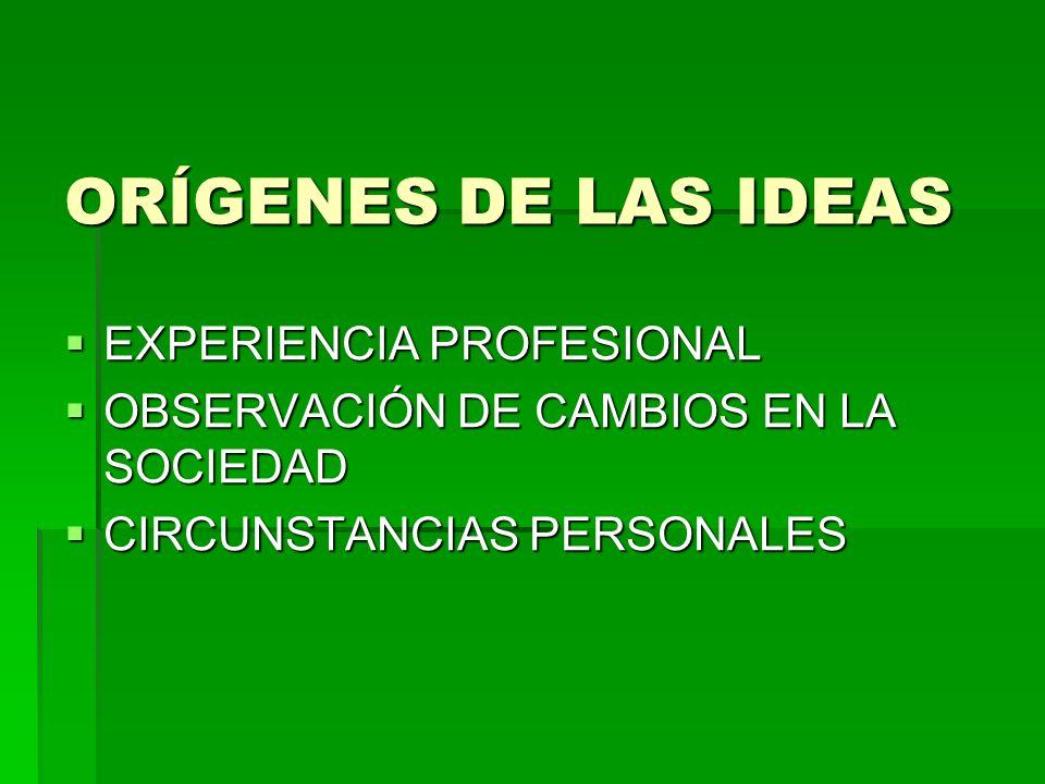 ORÍGENES DE LAS IDEAS EXPERIENCIA PROFESIONAL EXPERIENCIA PROFESIONAL OBSERVACIÓN DE CAMBIOS EN LA SOCIEDAD OBSERVACIÓN DE CAMBIOS EN LA SOCIEDAD CIRC