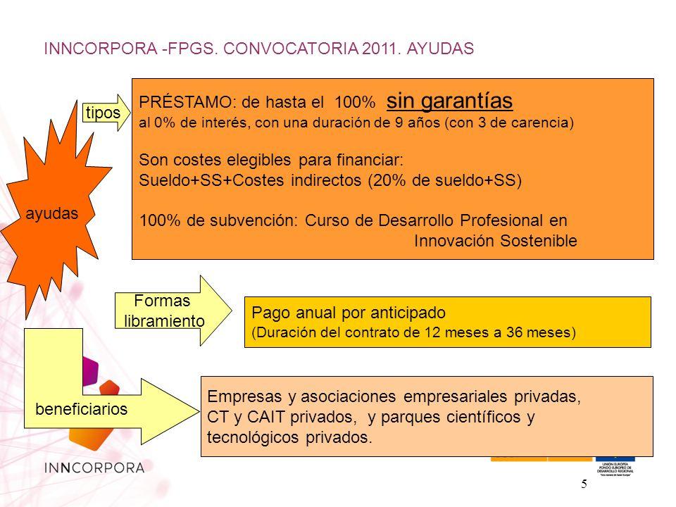 5 ayudas tipos Formas libramiento PRÉSTAMO: de hasta el 100% sin garantías al 0% de interés, con una duración de 9 años (con 3 de carencia) Son costes elegibles para financiar: Sueldo+SS+Costes indirectos (20% de sueldo+SS) 100% de subvención: Curso de Desarrollo Profesional en Innovación Sostenible Pago anual por anticipado (Duración del contrato de 12 meses a 36 meses) beneficiarios Empresas y asociaciones empresariales privadas, CT y CAIT privados, y parques científicos y tecnológicos privados.