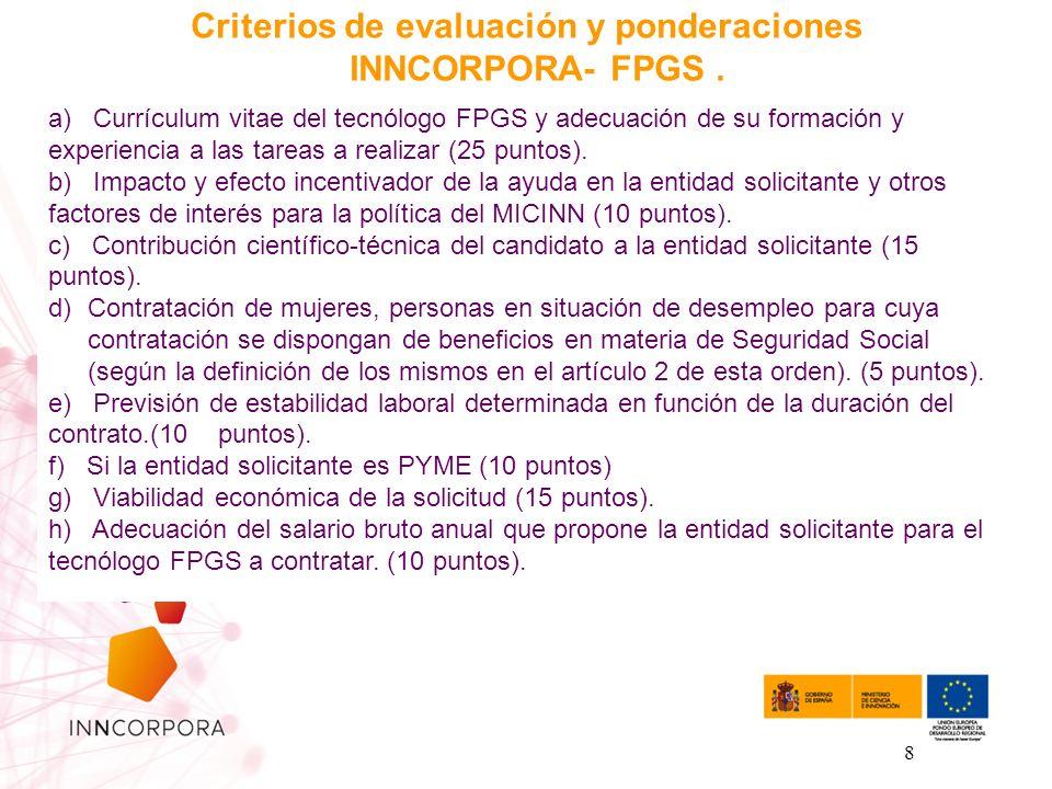 8 Criterios de evaluación y ponderaciones INNCORPORA- FPGS. a) Currículum vitae del tecnólogo FPGS y adecuación de su formación y experiencia a las ta
