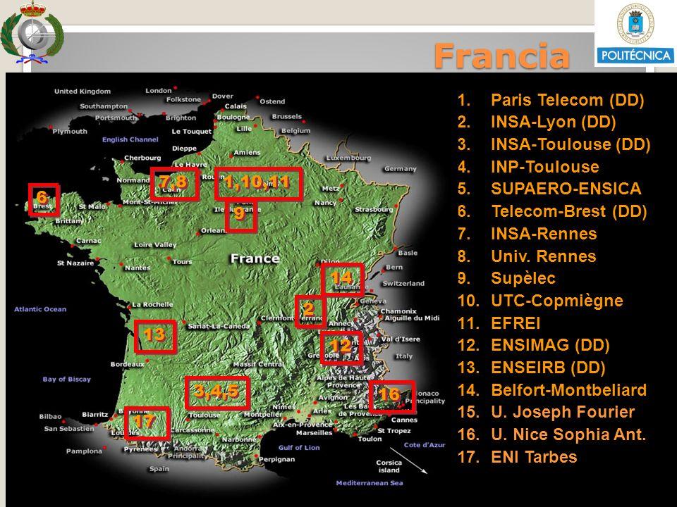 Sesión Informativa Enero 2013 VRRII - OI 1.Paris Telecom (DD) 2.INSA-Lyon (DD) 3.INSA-Toulouse (DD) 4.INP-Toulouse 5.SUPAERO-ENSICA 6.Telecom-Brest (D