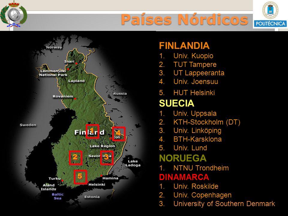 Sesión Informativa Diciembre 2011 VRRII - OI Países Nórdicos FINLANDIA 1.Univ. Kuopio 2.TUT Tampere 3.UT Lappeeranta 4.Univ. Joensuu 5.HUT Helsinki SU
