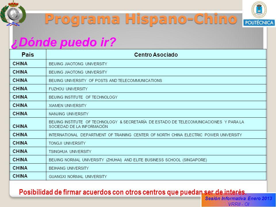 Sesión Informativa Enero 2013 VRRII - OI Programa Hispano-Chino ¿Dónde puedo ir? Pais Centro Asociado CHINA BEIJING JIAOTONG UNIVERSITY CHINA BEIJING