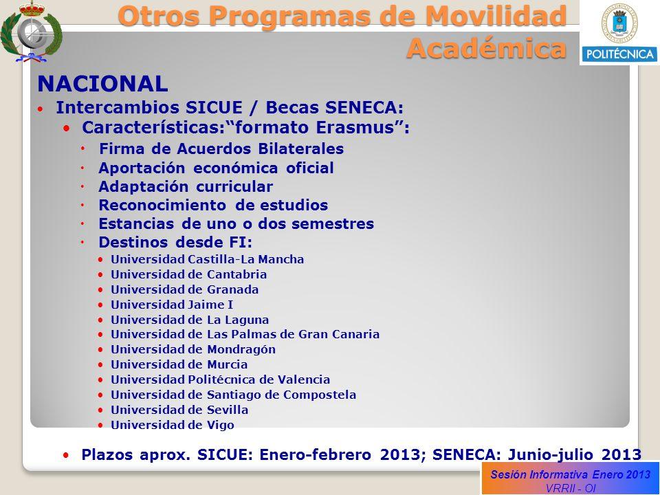Sesión Informativa Enero 2013 VRRII - OI Otros Programas de Movilidad Académica NACIONAL Intercambios SICUE / Becas SENECA: Características:formato Er