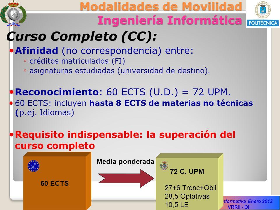 Sesión Informativa Enero 2013 VRRII - OI Modalidades de Movilidad Ingeniería Informática Curso Completo (CC): Afinidad (no correspondencia) entre: cré