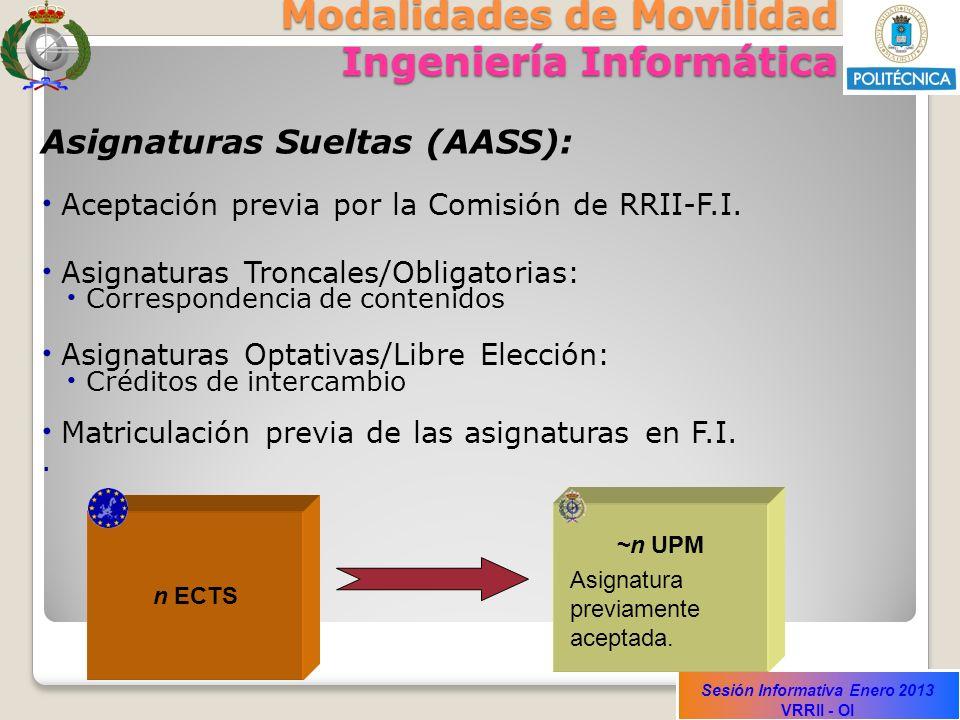 Sesión Informativa Enero 2013 VRRII - OI Modalidades de Movilidad Ingeniería Informática Asignaturas Sueltas (AASS): Aceptación previa por la Comisión