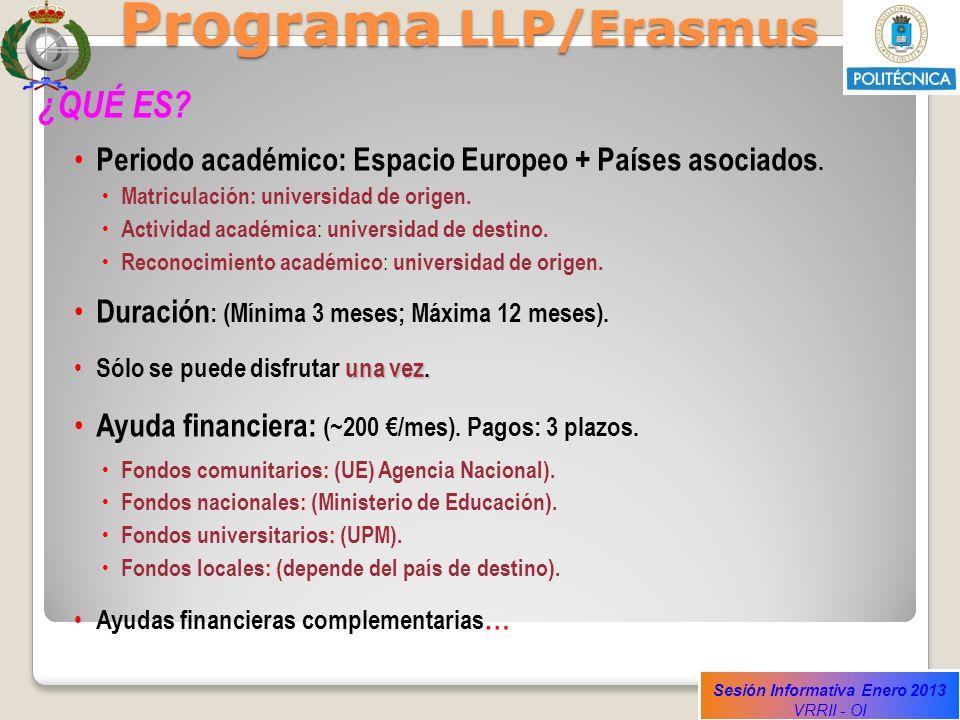 Sesión Informativa Enero 2013 VRRII - OI Programa LLP/Erasmus ¿QUÉ ES? Periodo académico: Espacio Europeo + Países asociados. Matriculación: universid