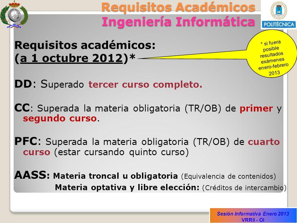 Sesión Informativa Enero 2013 VRRII - OI Requisitos Académicos Ingeniería Informática Requisitos académicos: (a 1 octubre 2012)* DD: S uperado tercer
