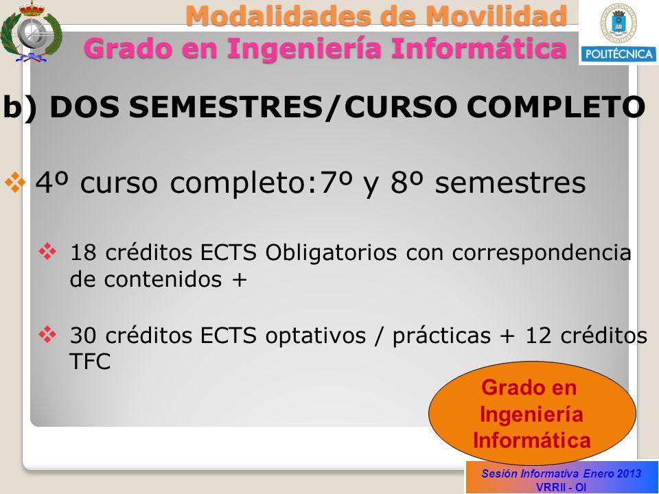 Sesión Informativa Enero 2013 VRRII - OI Modalidades de Movilidad Grado en Ingeniería Informática b) DOS SEMESTRES/CURSO COMPLETO 4º curso completo:7º