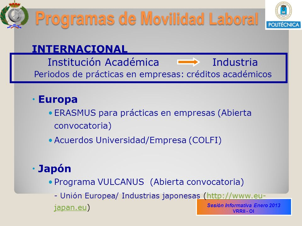 Sesión Informativa Enero 2013 VRRII - OI Programas de M ovilidad Laboral INTERNACIONAL Institución Académica Industria Periodos de prácticas en empres