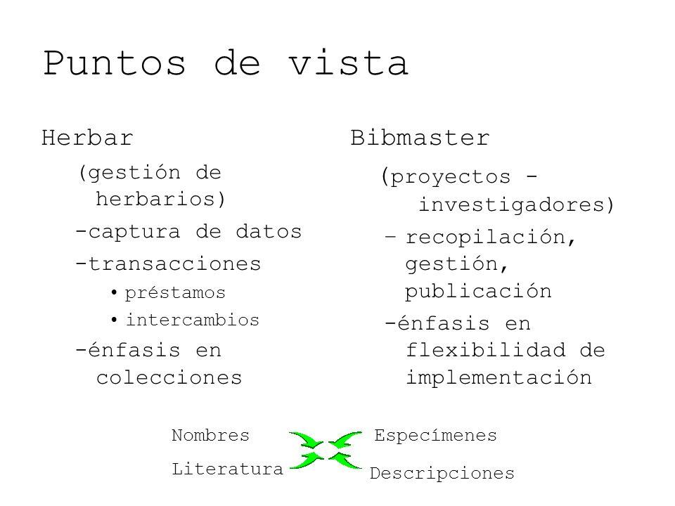 Puntos de vista Herbar (gestión de herbarios) -captura de datos -transacciones préstamos intercambios -énfasis en colecciones Bibmaster ( proyectos -