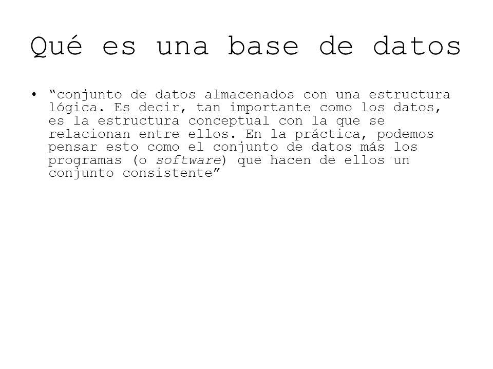 Qué es una base de datos conjunto de datos almacenados con una estructura lógica. Es decir, tan importante como los datos, es la estructura conceptual