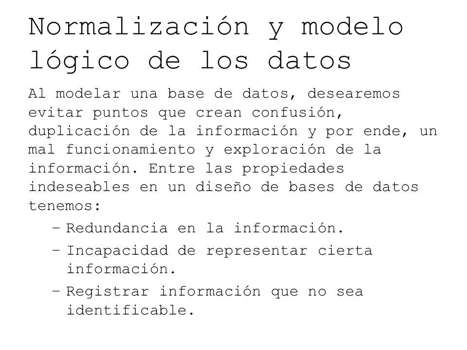 Normalización y modelo lógico de los datos Al modelar una base de datos, desearemos evitar puntos que crean confusión, duplicación de la información y